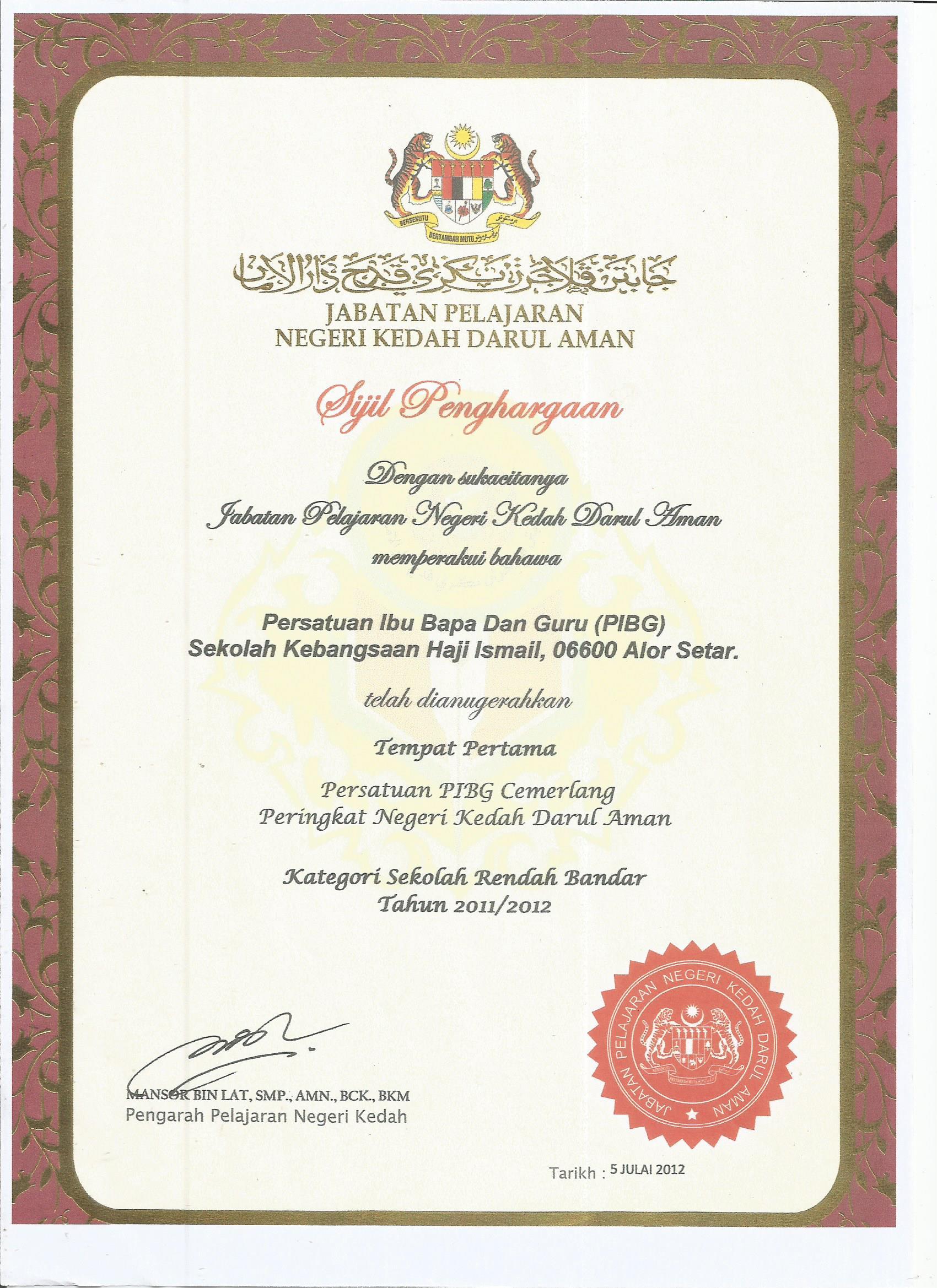 Johan PIBG Cemerlang Negeri Kedah 2012