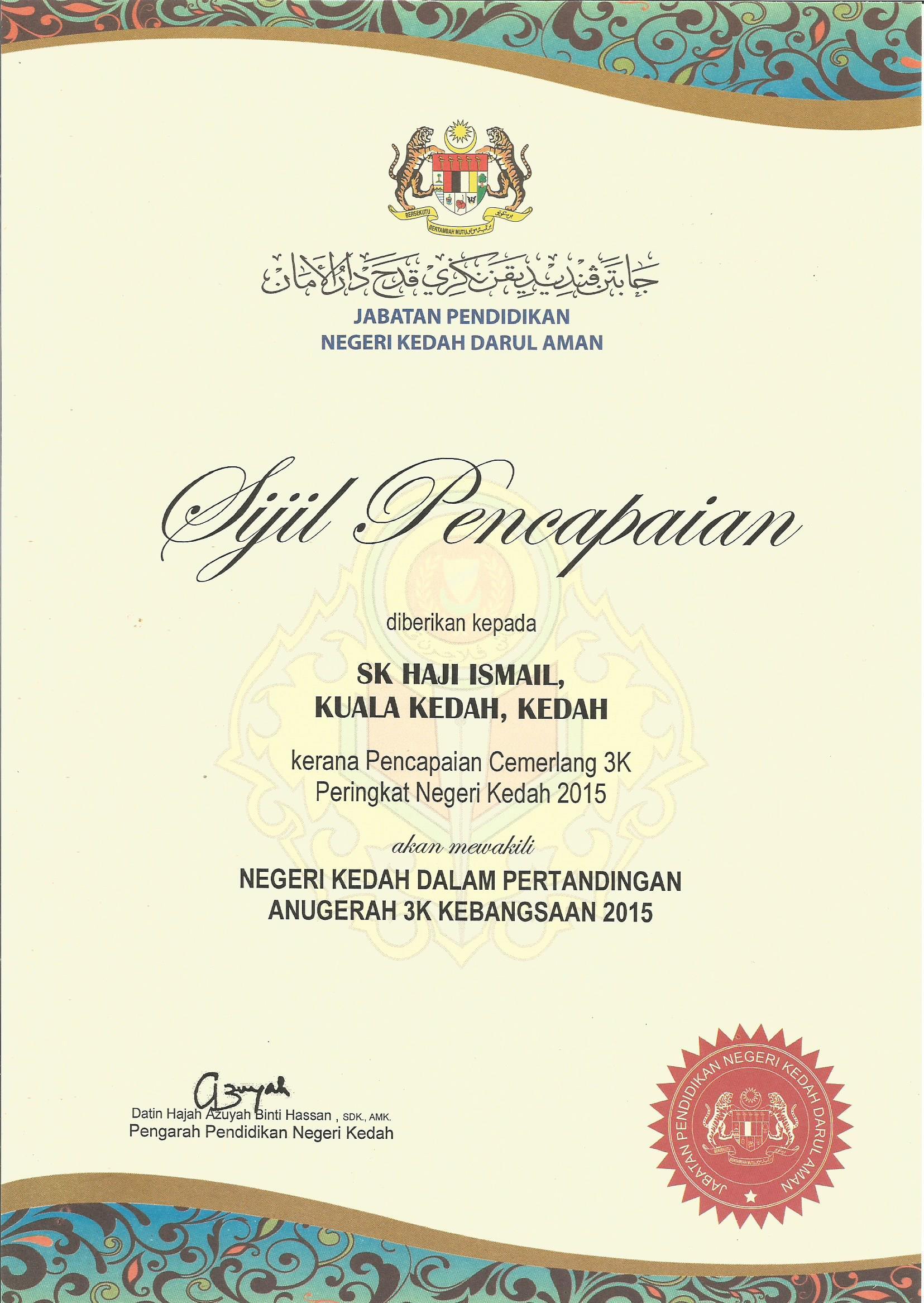 Cemerlang 3K Negeri Kedah 2015